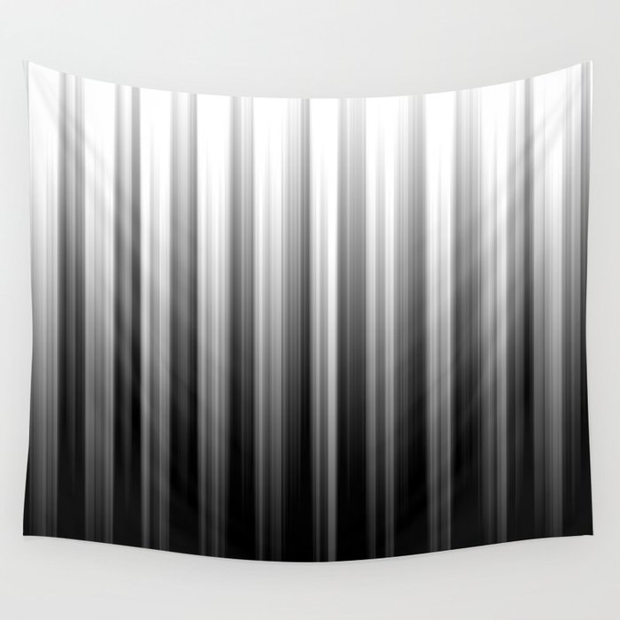 Black And White Soft Blurred Vertical Lines - Ombre Abstract Blurred Design Wall Tapestry