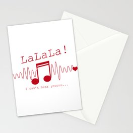 LaLaLa I Can't Hear You Sarcasm Music Note Sarcastic Song Lovers Gift Stationery Cards