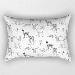Animal Kingdom White Rectangular Pillow