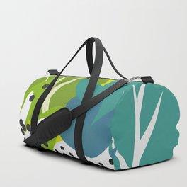 White strawberries and green leaves Duffle Bag