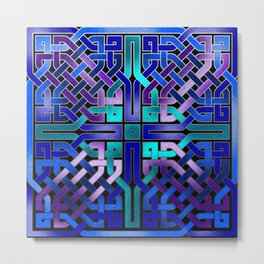 Blue Celtic Knot Square Metal Print