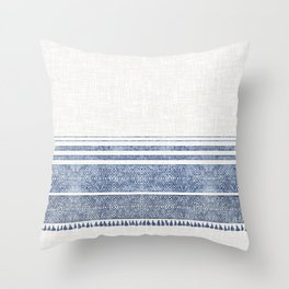 FRENCH LINEN CHAMBRAY TASSEL Throw Pillow