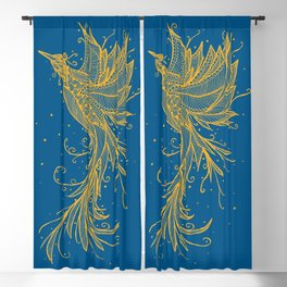 Golden Phoenix on blue Blackout Curtain