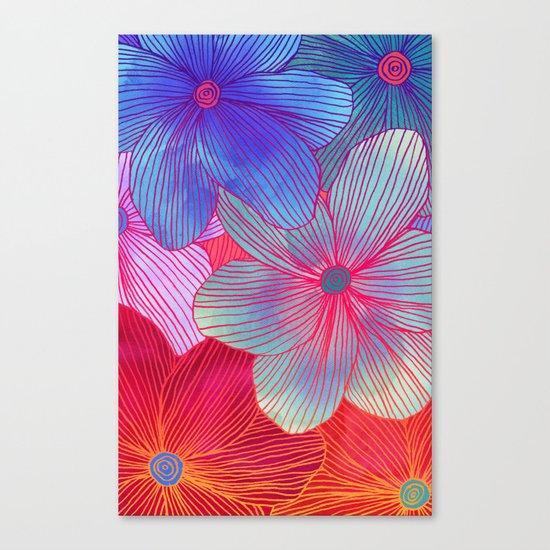 Between the Lines 2 - tropical flowers in purple, pink, blue & orange Canvas Print