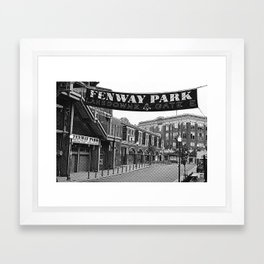 Fenway Park Banner Black and White Framed Art Print