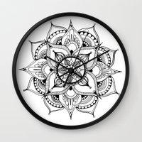 henna Wall Clocks featuring Henna Mandala by Ava Elise