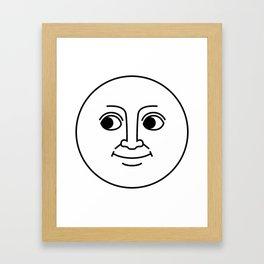 Creepy Moon Face Framed Art Print