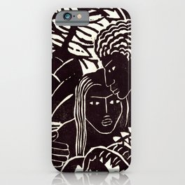 Black couple embracing, African American man and woman iPhone Case