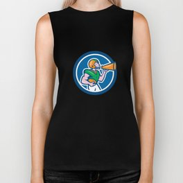 American Football Quarterback Bullhorn Cartoon Biker Tank