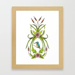 Common Kingfisher, Water Lilies, Dragonflies & Cattails Pattern Framed Art Print