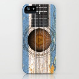 Old Vintage Acoustic Guitar with Argentine Flag iPhone Case