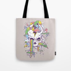 Flying Rainbow skull Island Tote Bag