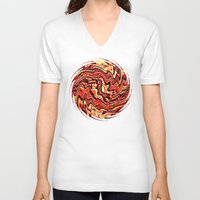 agate V-neck T-shirts featuring Fire Agate by Fringeman