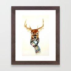 Deer buck with winter scarf - watercolor Framed Art Print