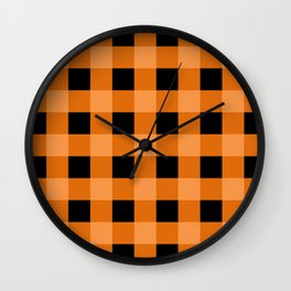 Orange and Black Buffalo Check Wall Clock