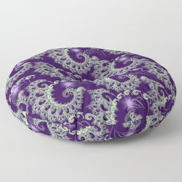 Purple Nautilus Fractals Floor Pillow