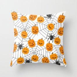 Halloween Pattern Spider Pumpkin Throw Pillow