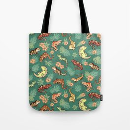 Gecko family in green Tote Bag