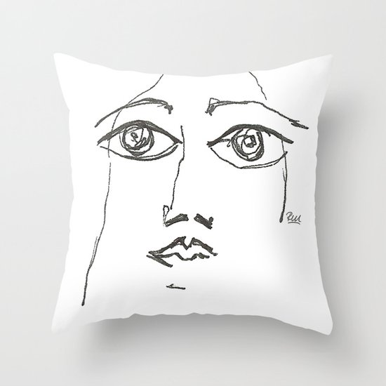 Woman gazing Throw Pillow