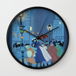 November Evening Bus Stop Wall Clock