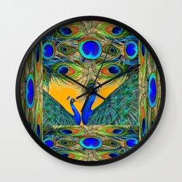 BLUE PEACOCKS  GOLDEN FEATHER DESIGN PATTERNS GN Wall Clock