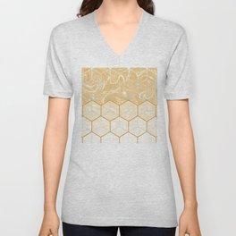 Geometric Effect Caramel Marble Design Unisex V-Neck