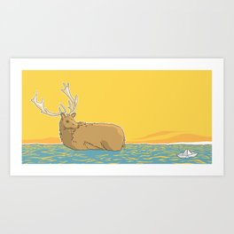 A deer in water - v2 Art Print