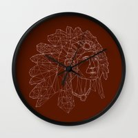 native american Wall Clocks featuring native american by johanna strahl