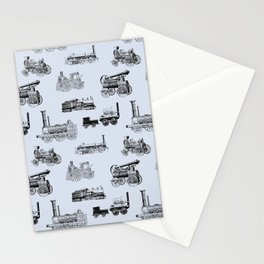 Antique Steam Engines // Steel Grey Stationery Cards