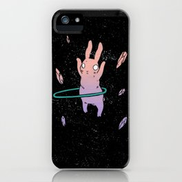Hula Hooping Rabbit in Space iPhone Case