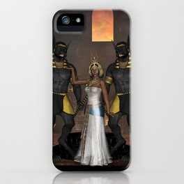 Wonderful egyptian women with anubis iPhone Case