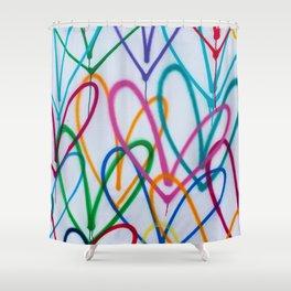 Multicoloured Love Hearts Graffiti Repeat Pattern Shower Curtain