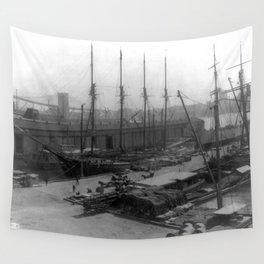 Vintage Ships at Dock NYC Photograph (1908) Wall Tapestry