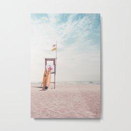 Beige Color Surfboard Metal Print