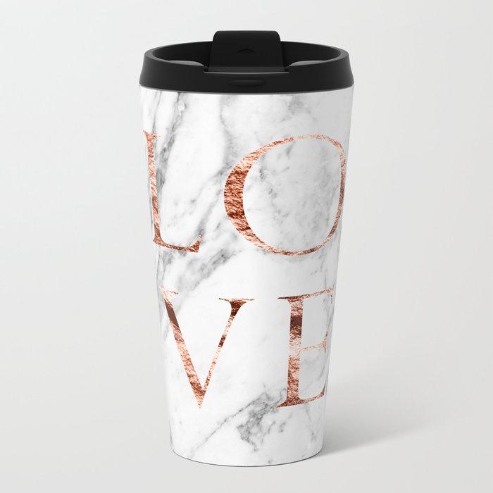 Rose gold marble LOVE Metal Travel Mug