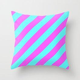 Orchid Aqua Stripe (Diagonal) Throw Pillow