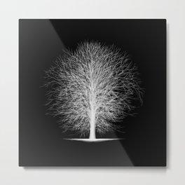 Tree Silhouettes Collapsed - White Metal Print