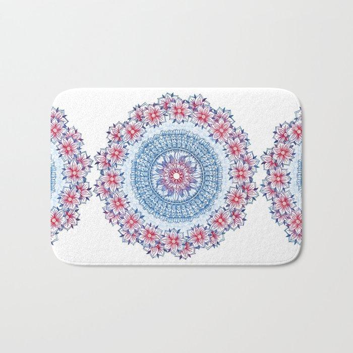 Red, Blue & White Floral Medallion Bath Mat