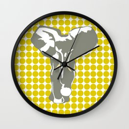 Golden Poppy Safari Dot with Pop Art Elephant Wall Clock