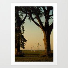 Sunset Turbines in Nature Art Print