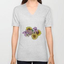 Flower Cat Unisex V-Neck