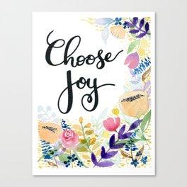 Choose Joy Floral Canvas Print