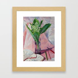 still life.  lilies of the valley. original oil painting Framed Art Print