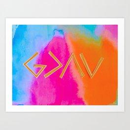 God Is Greater - Tie Dye Art Print