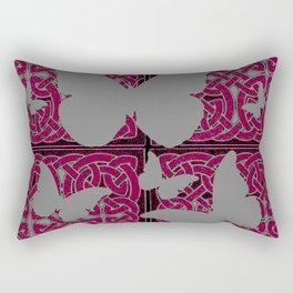Grey Mystic Butterflies Burgundy Purple Celtic Art Rectangular Pillow