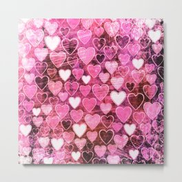 Grungy Pink Hearts Metal Print