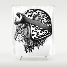 Tiger Helm Shower Curtain
