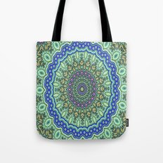 Lovely Healing Mandala  in Brilliant Colors: Purple, Black, Gold, Mint, and Sunset Yellow Tote Bag