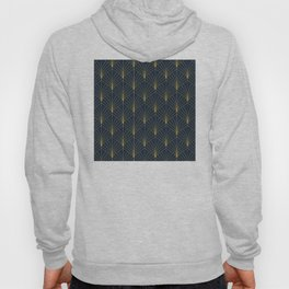 The Cat's Meow! Blue & Gold Art Deco Pattern Hoody