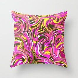 psychedelic spiral painting abstract pattern in pink and yellow Throw Pillow